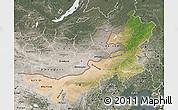 Satellite Map of Nei Mongol Zizhiqu, semi-desaturated