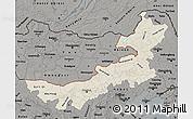 Shaded Relief Map of Nei Mongol Zizhiqu, darken, semi-desaturated