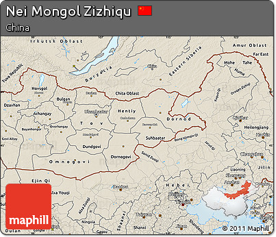 Shaded Relief Map of Nei Mongol Zizhiqu