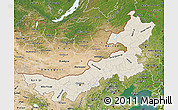 Shaded Relief Map of Nei Mongol Zizhiqu, satellite outside