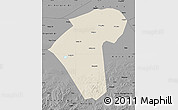 Shaded Relief Map of Naiman Qi, darken, desaturated