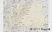 Shaded Relief Map of Ningcheng, semi-desaturated