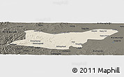 Shaded Relief Panoramic Map of Ongniud Qi, darken