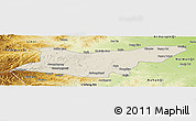 Shaded Relief Panoramic Map of Ongniud Qi, physical outside