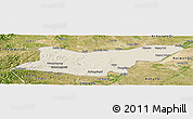 Shaded Relief Panoramic Map of Ongniud Qi, satellite outside