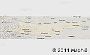 Shaded Relief Panoramic Map of Ongniud Qi, semi-desaturated