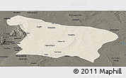 Shaded Relief Panoramic Map of Otog Qi, darken