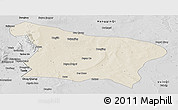 Shaded Relief Panoramic Map of Otog Qi, desaturated