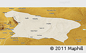 Shaded Relief Panoramic Map of Otog Qi, physical outside