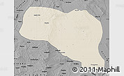 Shaded Relief Map of Otog Qianqi, darken, desaturated