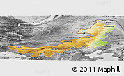 Physical Panoramic Map of Nei Mongol Zizhiqu, desaturated