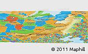 Physical Panoramic Map of Nei Mongol Zizhiqu, political outside