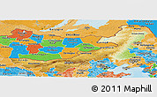 Physical Panoramic Map of Nei Mongol Zizhiqu, political shades outside
