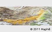 Physical Panoramic Map of Nei Mongol Zizhiqu, semi-desaturated