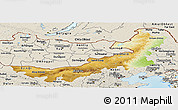 Physical Panoramic Map of Nei Mongol Zizhiqu, shaded relief outside