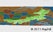 Political Shades Panoramic Map of Nei Mongol Zizhiqu, darken