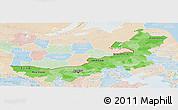 Political Shades Panoramic Map of Nei Mongol Zizhiqu, lighten