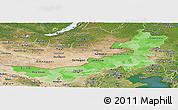 Political Shades Panoramic Map of Nei Mongol Zizhiqu, satellite outside