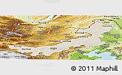 Shaded Relief Panoramic Map of Nei Mongol Zizhiqu, physical outside