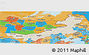 Shaded Relief Panoramic Map of Nei Mongol Zizhiqu, political shades outside