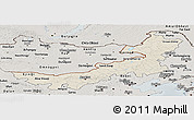 Shaded Relief Panoramic Map of Nei Mongol Zizhiqu, semi-desaturated