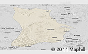 Shaded Relief Panoramic Map of Qahar Youyi Houqi, desaturated