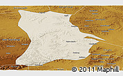 Shaded Relief Panoramic Map of Qahar Youyi Houqi, physical outside