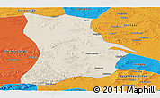 Shaded Relief Panoramic Map of Qahar Youyi Houqi, political outside