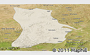 Shaded Relief Panoramic Map of Qahar Youyi Houqi, satellite outside