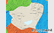 Shaded Relief Map of Qahar Youyi Qianqi, political outside