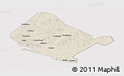Shaded Relief Panoramic Map of Shangdu, cropped outside