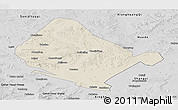 Shaded Relief Panoramic Map of Shangdu, desaturated