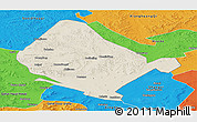 Shaded Relief Panoramic Map of Shangdu, political outside