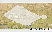 Shaded Relief Panoramic Map of Shangdu, satellite outside