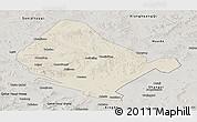 Shaded Relief Panoramic Map of Shangdu, semi-desaturated