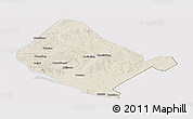 Shaded Relief Panoramic Map of Shangdu, single color outside