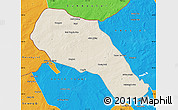 Shaded Relief Map of Sonid Zuoqi, political outside