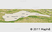 Shaded Relief Panoramic Map of Tongliao, satellite outside