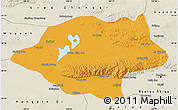 Political Map of Urad Qianqi, shaded relief outside