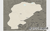 Shaded Relief Panoramic Map of Uxin Qi, darken