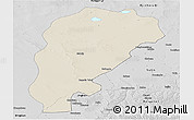Shaded Relief Panoramic Map of Uxin Qi, desaturated