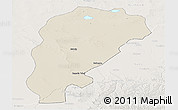 Shaded Relief Panoramic Map of Uxin Qi, lighten