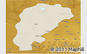 Shaded Relief Panoramic Map of Uxin Qi, physical outside