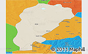 Shaded Relief Panoramic Map of Uxin Qi, political outside
