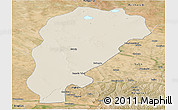 Shaded Relief Panoramic Map of Uxin Qi, satellite outside