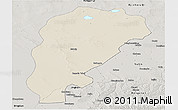 Shaded Relief Panoramic Map of Uxin Qi, semi-desaturated