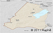 Shaded Relief Panoramic Map of Xinbarag Youqi, desaturated