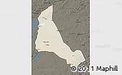 Shaded Relief Map of Xinbarag Zuoqi, darken