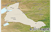 Shaded Relief Panoramic Map of Xinbarag Zuoqi, satellite outside
