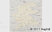 Shaded Relief Panoramic Map of Xuguit Qi, semi-desaturated